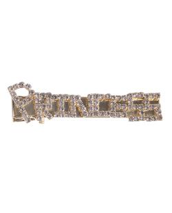 Presilha de metal dourado com strass cristal  princess
