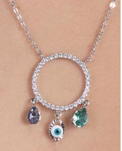 Colar de metal prateado com pedras coloridas e strass cristal Lidi