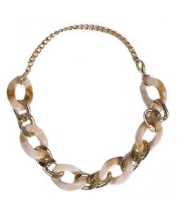 Pulseira de metal dourado com acrílico bege Izabella