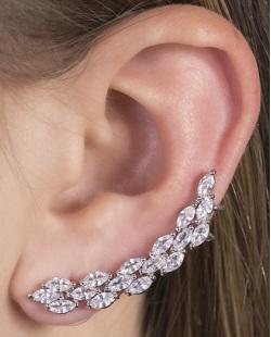 Ear cuff de metal prateado com pedra cristal Zoe