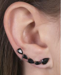 Ear cuff de metal grafite com pedra preta Lady