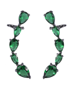 Ear cuff de metal grafite com pedra verde Lady