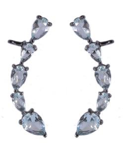 Ear cuff de metal grafite com pedra azul Lady