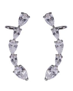 Ear cuff de metal prateado com pedra cristal Lady