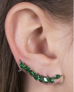 Ear cuff de metal grafite com pedra verde Becky
