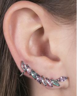 Ear cuff de metal grafite com pedras coloridas Becky