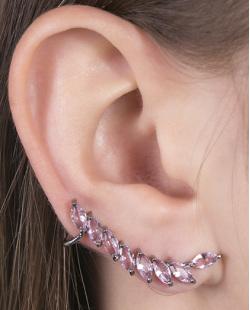 Ear cuff de metal grafite com pedra rosa Becky