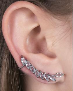 Ear cuff de metal grafite com pedra azul Becky