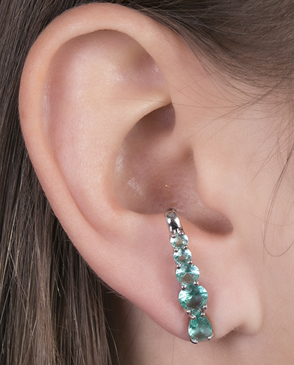 Ear hook de metal prateado com pedra turquesa Louse
