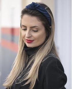 Tiara de veludo azul Elisama