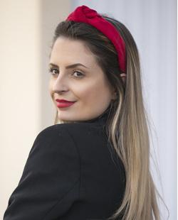 Tiara de veludo vermelho Elisama