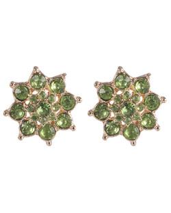 Brinco pequeno de metal dourado com pedra verde Hanna