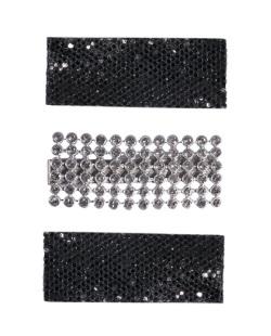 Kit 3 presilhas de metal prateado com pedra cristal e strass preto Shailene
