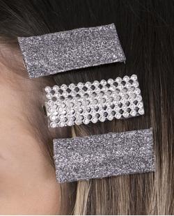 Kit 3 presilhas de metal prateado com pedra e strass cristal  Shailene
