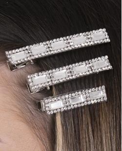 Kit 3 presilhas de metal prateado com pedra cristal Lotte