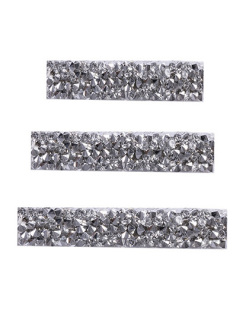Kit 3 presilhas de metal prateado com pedra cristal Augustus