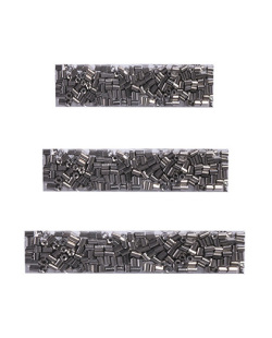 Kit 3 presilhas de metal prateado com strass grafite Isaac