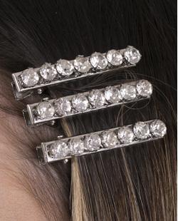 Kit 3 presilhas de metal prateado com pedra cristal Esther