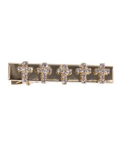Presilha de metal dourado com strass cristal Manny