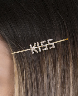 Presilha de metal dourado com strass cristal Kiss