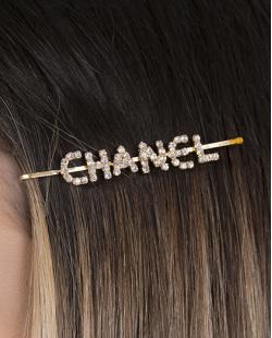 Presilha de metal dourado com strass cristal Chanel