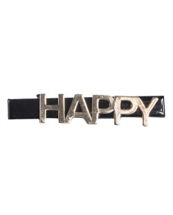 Presilha de metal preto e dourado Happy