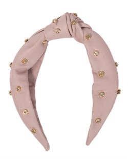 Tiara de courino rosa com pedra cristal Dawson