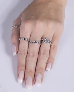 Kit anel de metal prateado com pedra cristal Virgínia