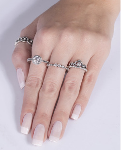 Kit anel de metal prateado com pedra cristal Evelyn