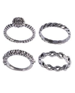 Kit anel de metal prateado com pedra cristal Iozzi