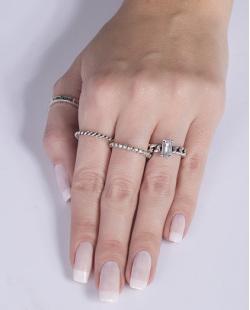 Kit anel de metal prateado com pedra cristal Natália