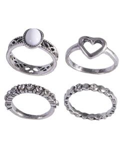 Kit anel de metal prateado com pedra branca Gladys