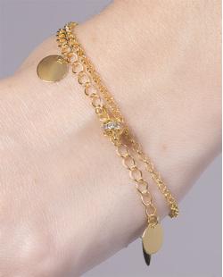 Pulseira de metal dourado com pedra cristal Fabiana