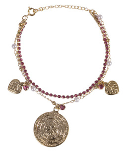 Pulseira de metal dourado com pedra rosa e pérola Fahmy