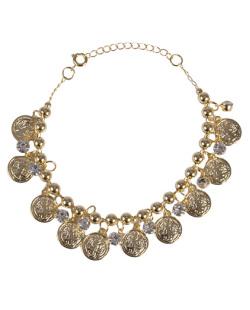 Pulseira de metal dourado com pedra cristal Milan