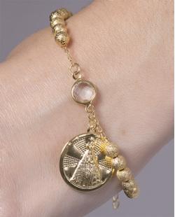 Pulseira de metal dourado com pedra cristal  Michael