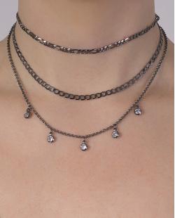 Kit 3 colares de metal grafite com pedra cristal Adriana