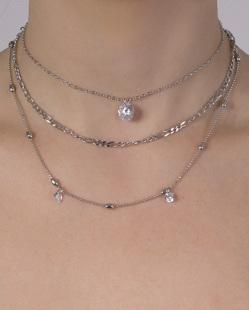 Kit 3 colares de metal prateado com pedra cristal nemo