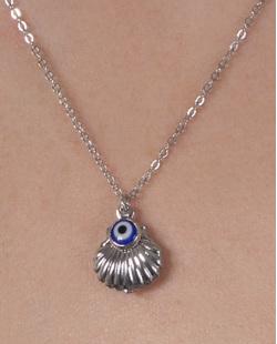 Kit 3 colares de metal prateado com pedra cristal Marlin