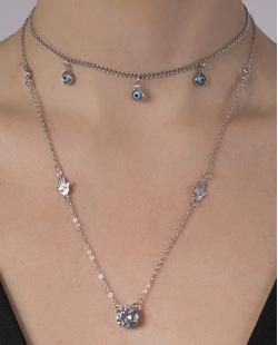 Kit 2 colares de metal prateado com pedra cristal Crush