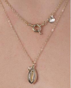 Kit 3 colares de metal dourado com pedra azul Destiny