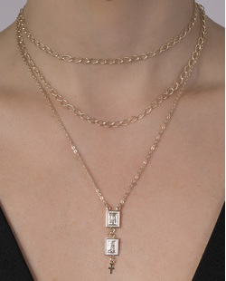 Kit 3 colares de metal dourado Furge