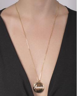 Colar de metal dourado com strass cristal Bianca