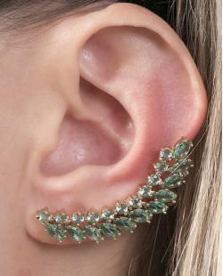Ear cuff de metal dourado com pedra verde Leo