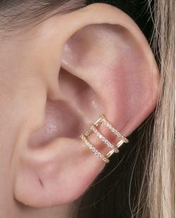 Piercing fake dourado com strass cristal Gabi