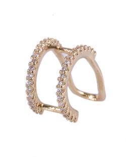 Piercing fake dourado com strass cristal Maria