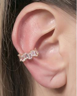 Piercing fake dourado com pedra cristal Ana