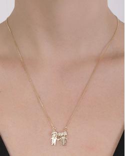 Colar folheado de metal dourado com strass cristal Liz