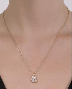 Colar folheado de metal dourado com pedra cristal Luna