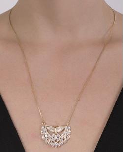 Colar folheado de metal dourado com pedra e strass cristal Eva